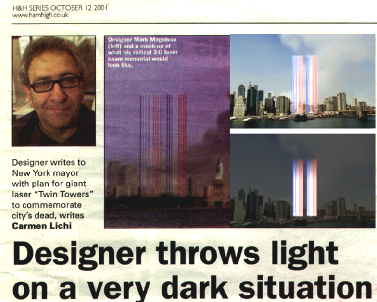 Conceived before the actually completed towers of light in NYC